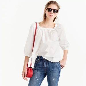 NWT J. Crew Penny Top Peasant Blouse White Size 8